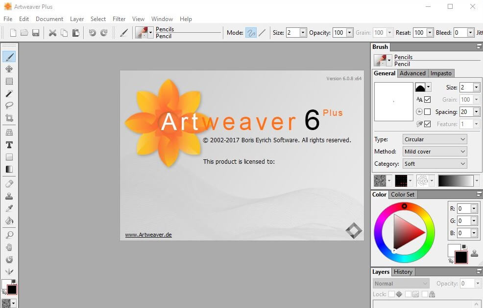 Artweaver 6 Plus interface/brugergrænseflade